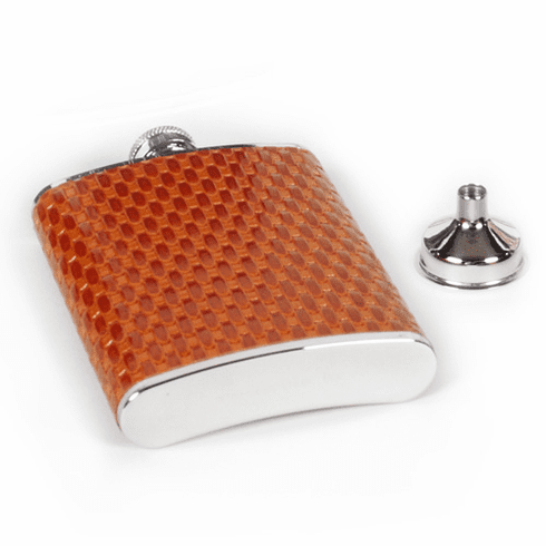 Concord 6 oz Tan Leather Basket Weave Whiskey Flask