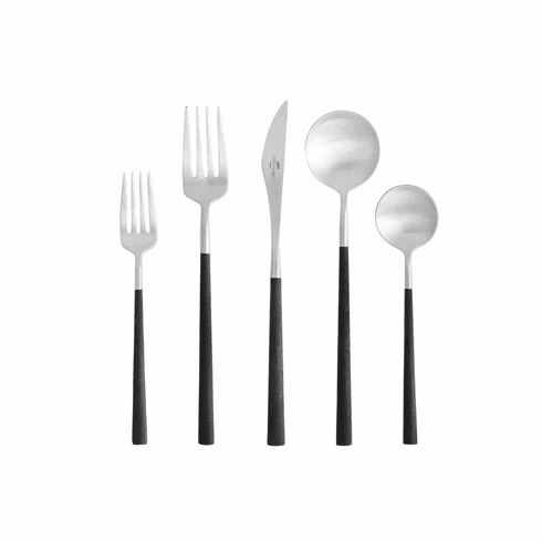 Costa Nova Mito Brushed with Resin Flatware 5 Piece Set with Box