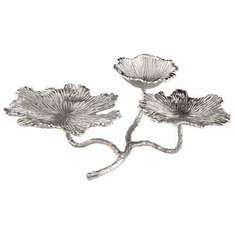 Cyan Design Flowers and Flames Candleholder Silver