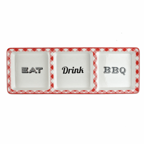Design Imports Eat Drink BBQ 2 Section Dish