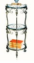 Dessau Home 3 Tier Bronze Iron Acanthus Leaf Table with Beveled Glass Home Decor