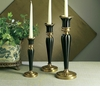 Dessau Home Antique Brass & Black Fluted Candleholder - Medium Home Decor