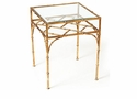 Dessau Home Antique Gold Iron Bamboo Table with Beveled Glass Home Decor