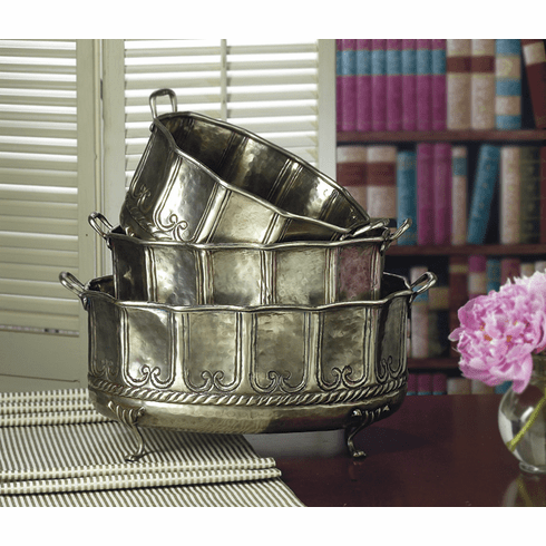 Dessau Home Antique Silver Embossed Footed Planters Set/3 Home Decor