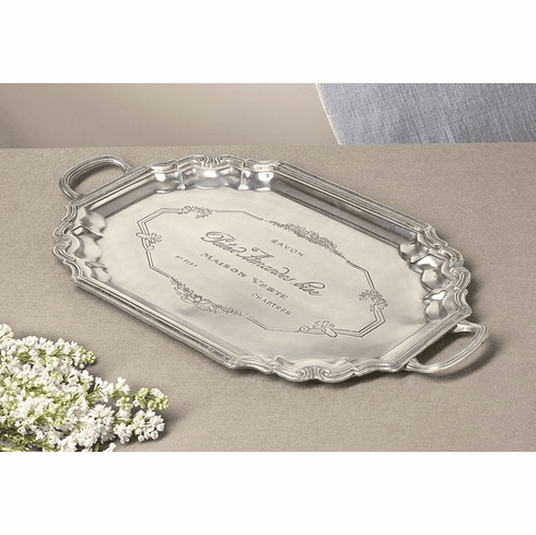 Dessau Home Antique Silver Etched French Tray with Handles Home Decor