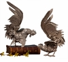 Dessau Home Antique Silver Fighting Roosters Sculptures Home Decor