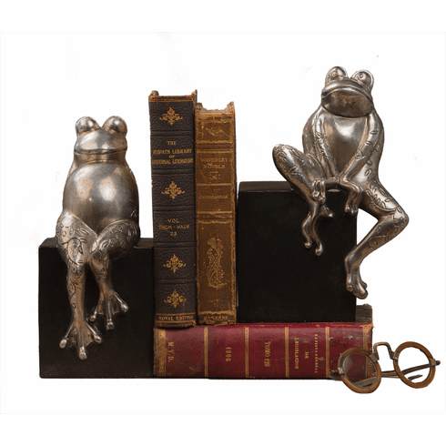 Dessau Home Antique Silver Frogs On Black Base Home Decor
