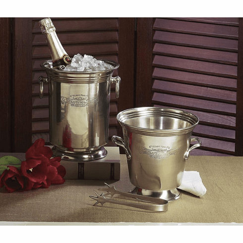 Dessau Home Antique Silver Ice Bucket with Tongs Home Decor
