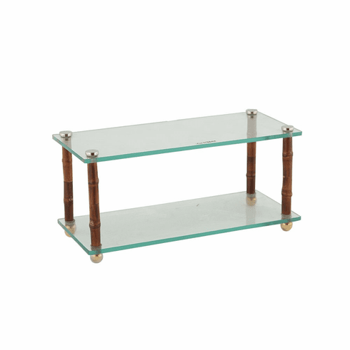 Dessau Home Bamboo/Glass 2 Tier Shelf