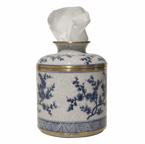 Dessau Home Blue And White Blossom Tissue Box Home Decor