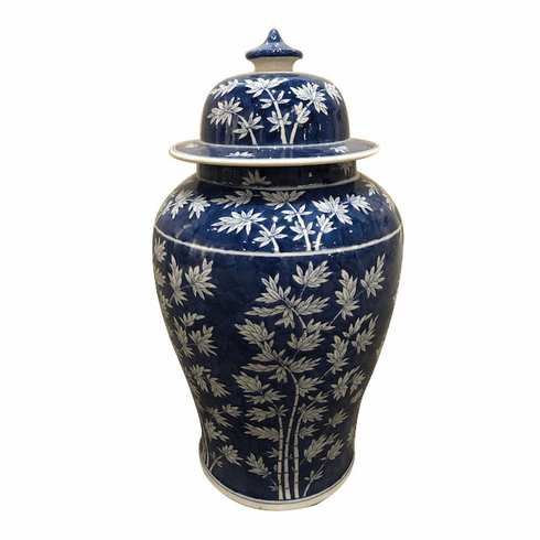 Dessau Home Blue & White Bamboo Pattern Jar