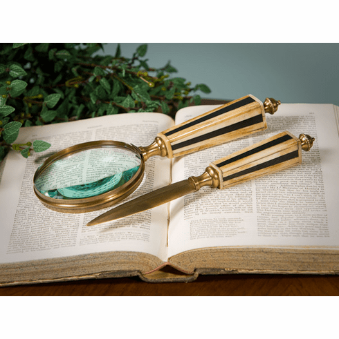 Dessau Home Bone & Antique Brass Letter Opener & Magnifying Glass Home Decor