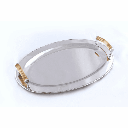Dessau Home Bone Handle Oval Beaded Tray