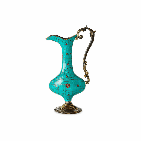 Dessau Home Brass & Turquoise Decorative Pitcher