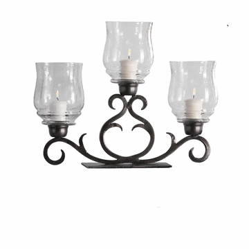 Dessau Home Bronze 3 Light Flare Scroll Hurricane Home Decor