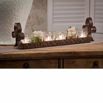 Dessau Home Bronze Fleur De Lis 6 Votive Tray Home Decor