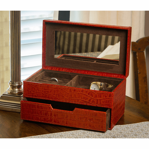 Dessau Home Burnt Orange Croc Jewelry Box Home Decor