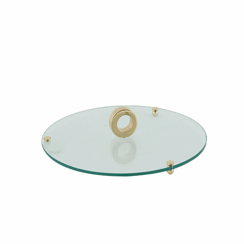 Dessau Home Gold Ring Bev. Glass Pedestal