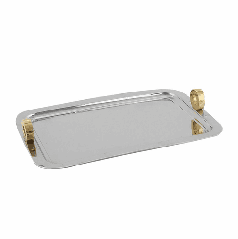 Dessau Home Gold Ring Nickel Rectangular Tray