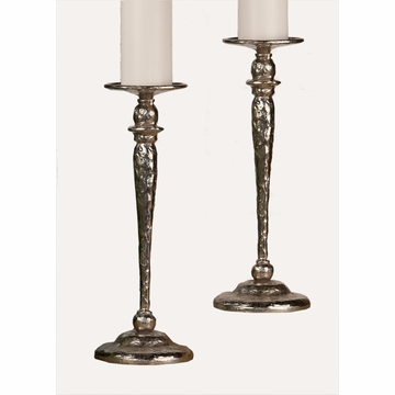 Dessau Home Hammered Nickel Pillar Candlestick Home Decor