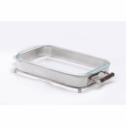 Dessau Home Nickel Crocodile & Bamboo Rectangular Server