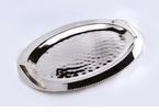 Dessau Home Nickel & Gold Bead Oval Handled Tray