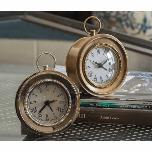 Dessau Home Nickel Round Face Alarm Clock Home Decor