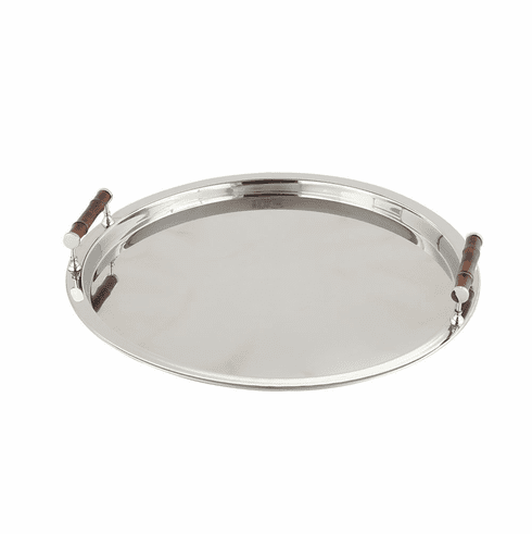 Dessau Home Nickel Round Tray W/Bamboo Handle