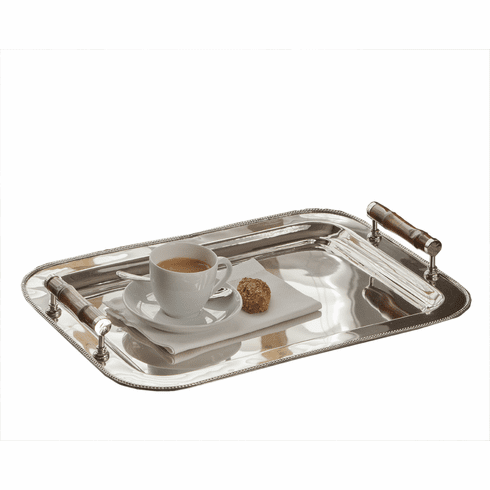 Dessau Home Nickel Tray Rect With Bamboo Handle Home Decor