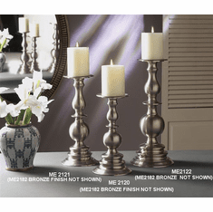 Dessau Home Pewter Pillar Candleholder - Large Home Decor