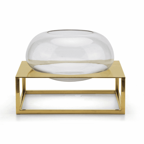 Dessau Home Round Vase with Tatanium Gold Base