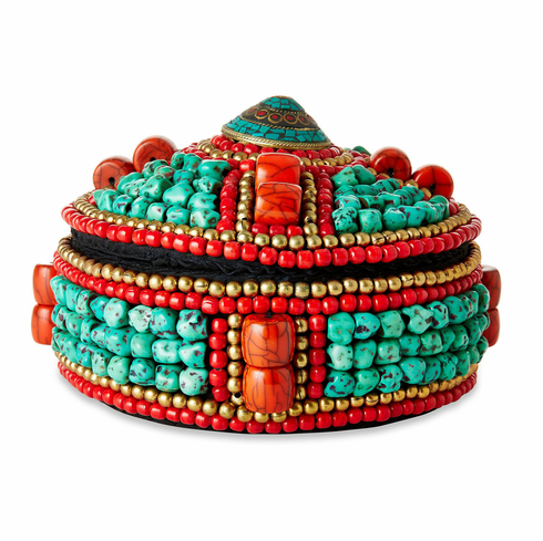 Dessau Home Turquoise & Red Beaded Box
