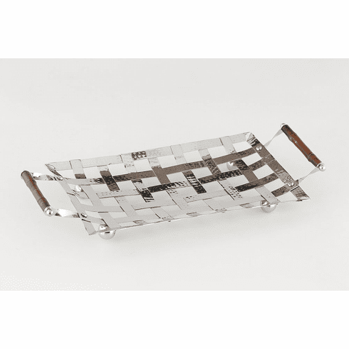 Dessau Home Woven Steel Tray With Bamboo Handles