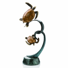 Double Turtles on Ribbon Sculpture by SPI Home