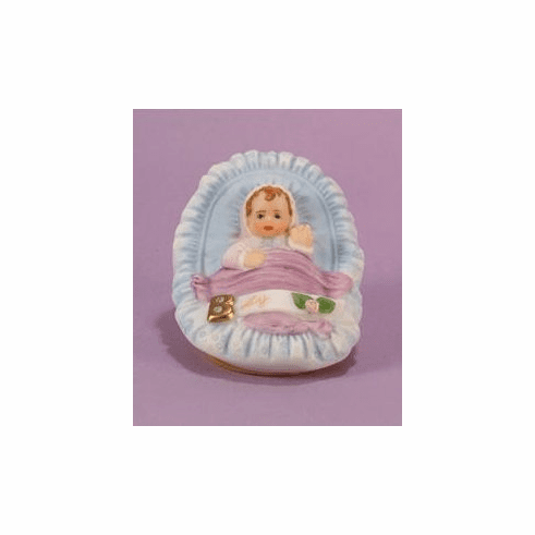Enesco Growing Up Girls Brunette Baby in Cradle Figurine