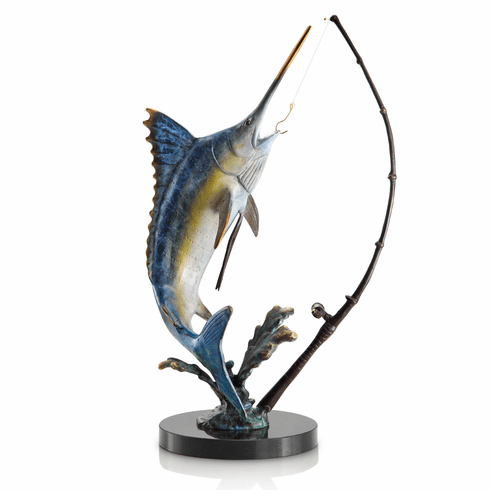 Fighting Marlin with Tackle Sculpture by SPI Home