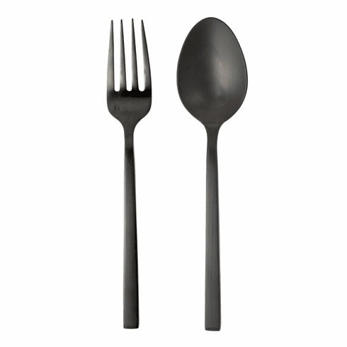 Fortessa Flatware Stainless Arezzo Brushed Black 2pc Serving Set Boxed