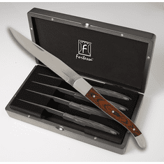 Fortessa Stainless Steel Provencal Non Serrated Dark Wood Steak Knife 4 Piece Boxed Set