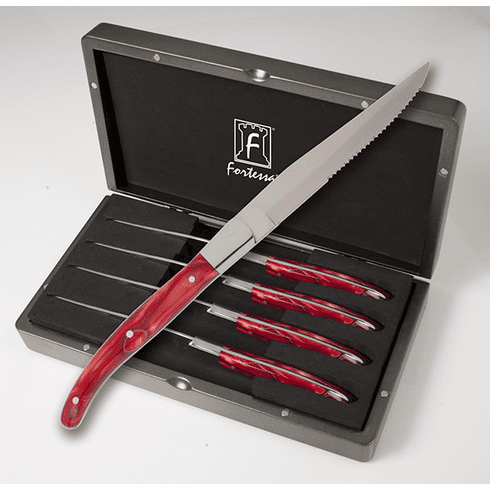 Fortessa Stainless Steel Provencal Steak Knife (Red Handle) 4 Piece Set in Box