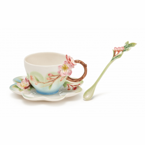 Franz Collection�Begonia Cup Saucer and Spoon Set