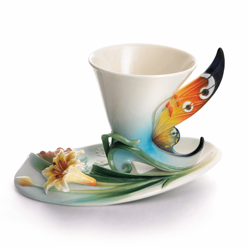 Franz Collection Buckeye Butterfly Porcelain Cup & Saucer Set