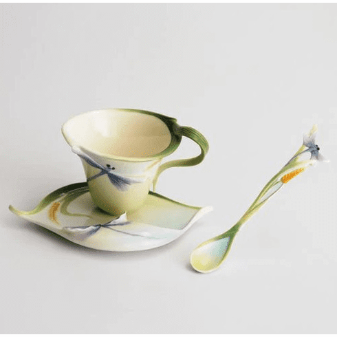 Franz Collection Dragonfly Cup, Saucer, and Spoon Set