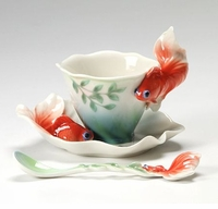 Franz Collection Goldfish Cup Saucer and Spoon Set