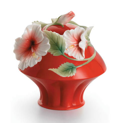 "Franz Collection Hibiscus Sugar Jar with Lid ""Island Beauty"""