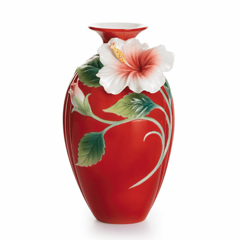 Franz Collection Island Beauty Hibiscus Flower Porcelain Small  Vase