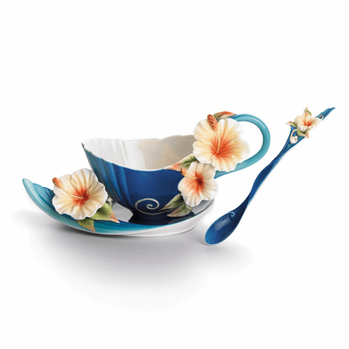 Franz Collection Island Hibiscus Flower Porcelain Cup, Saucer & Spoon Set