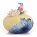 Franz Collection Lotus & Kingfisher Sugar Jar