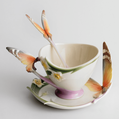 """Franz Collection """"Papillon"""" Butterfly Cup, Saucer & Spoon Set"""