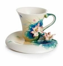 Franz Collection Peaceful Lotus Cup Saucer and Spoon Set