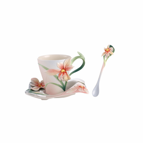 Franz Collection Porcelain Four Seasons - Orchid Cup, Saucer & Spoon Set